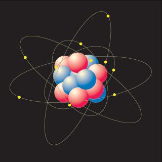 Esquema de um átomo, composto pelo núcleo e as órbitas dos electrões.