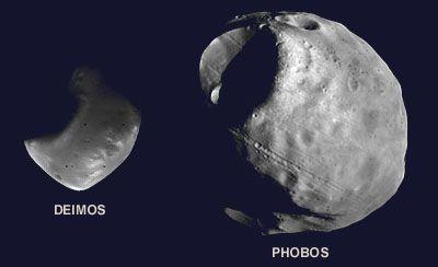 Figura 5 - Deimos e phobos, as duas luas de Marte.